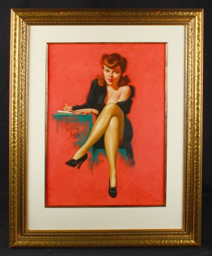 Framed and silk matted behind glass in handsome period frame