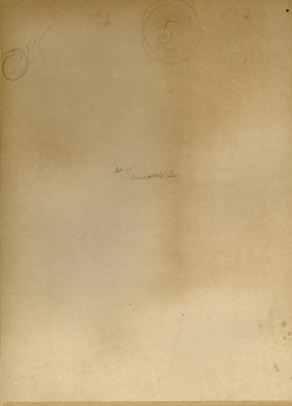 Verso view and notations likely in artist's hand
