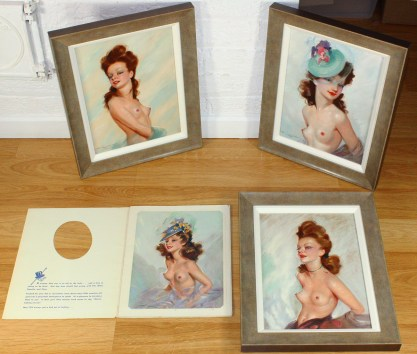 The collection of 3 paintings with published C. 1950 Brown & Bigelow Folio