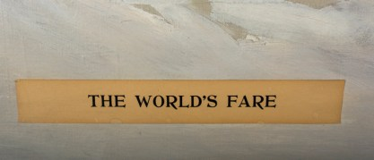 """Applied to canvas paper title of """"The World's Fair"""""""