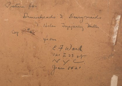 The artist's notations and address on verso board
