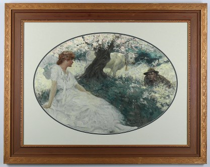 Framed in period wide profile gesso frame