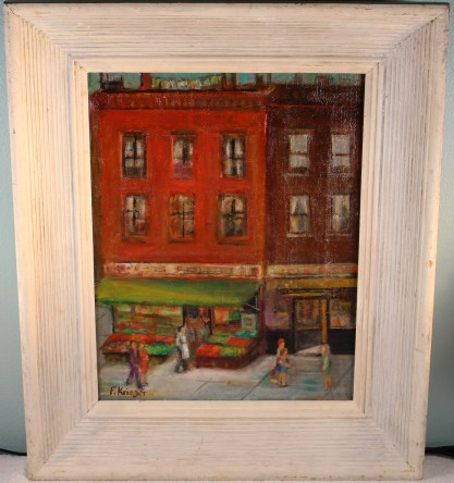 Framed view in simple WPA aesthetic painted wood frame