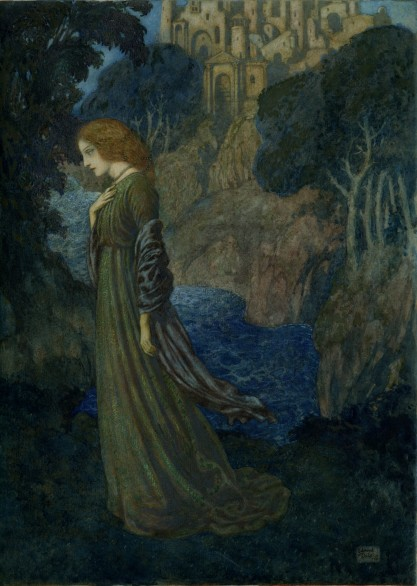 """Edmund Dulac's Illustration Plate of Annabel Lee for """"The Bells and Other Poems"""" by Edgar Allan Poe - 1912 edition published by Hodder and Stoughton"""