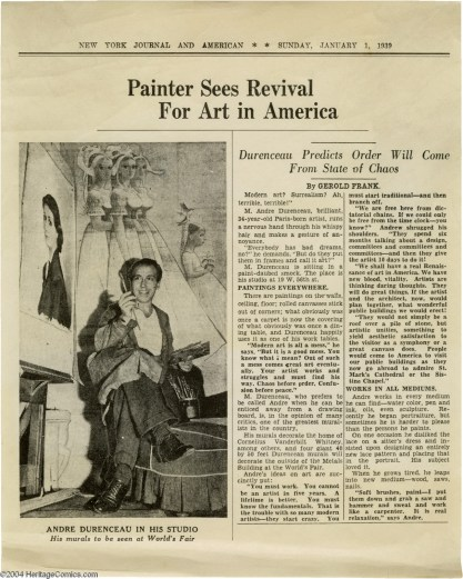 New York Journal article on Durenceau's work New York World's Fair