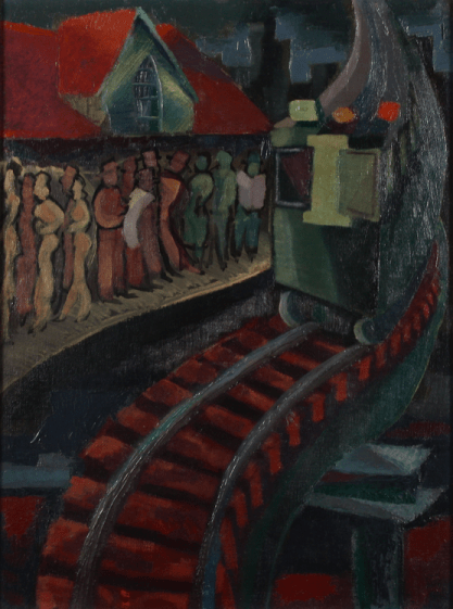 Train Platform At Night by Alfred Statler