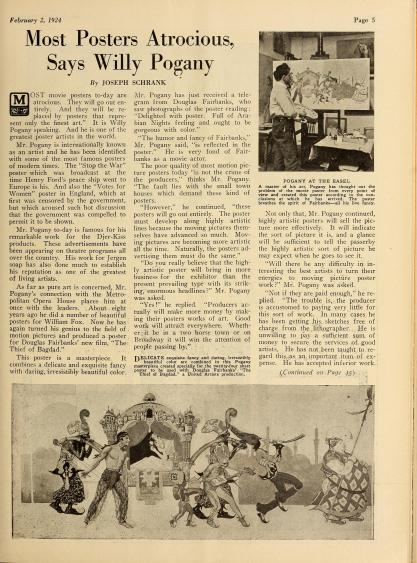 An article heralding Pogany's work on The Thief of Bagdad.