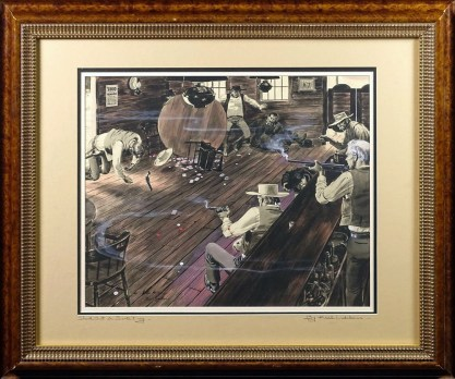 Framed and matted view in period western motif wood frame, titled and signed by the artist in the matting.