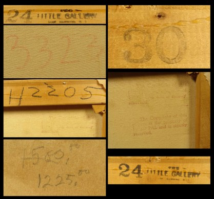 Detail of various verso ink-stamps and notations.