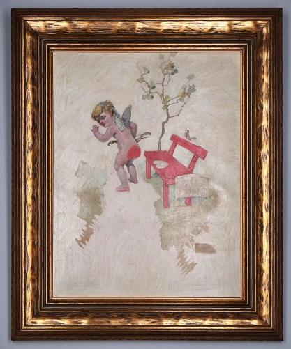 Framed view in a period antique wide profile Arts & Crafts era fine gold frame