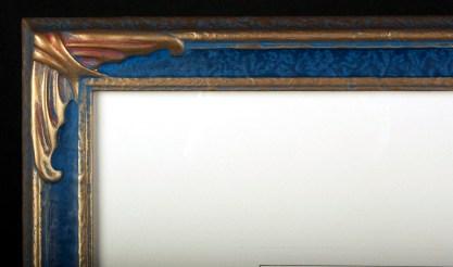 Frame corner detail in custom made museum quality gesso'ed frame