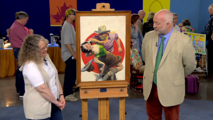 Alasdair Nichol appraising Devil's Punchbowl on PBS's Antiques Roadshow