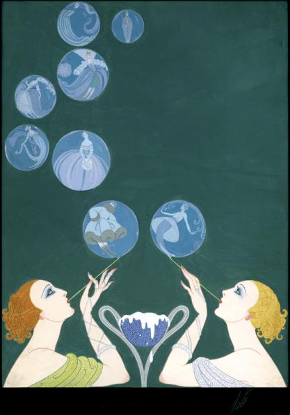 """""""Les Bulles de Savon"""" by Erté, 1918 Covert artwork for Harper's Bazaar"""