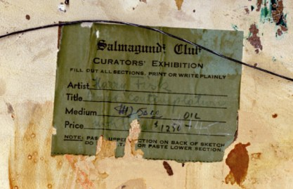 Salmagundi Club - Curator's Exhibit verso label detail