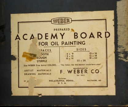 Verso label on illustration board
