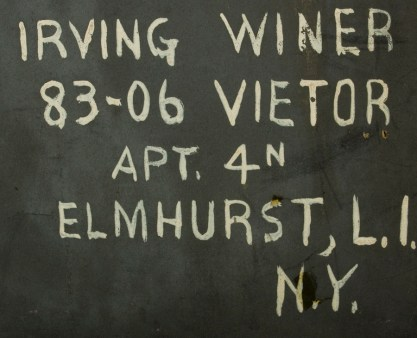 New York address on verso in artist's hand