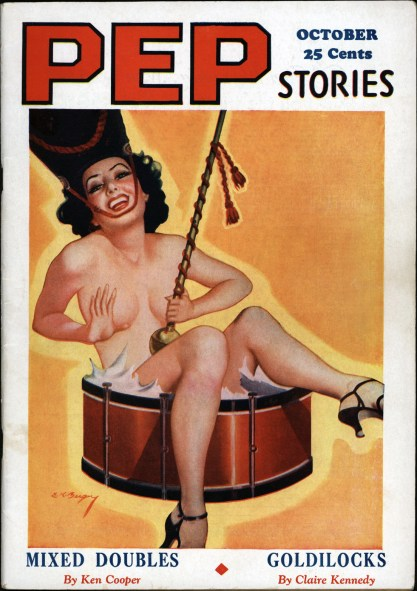 The painting as the October, 1935 cover for Pep Stories
