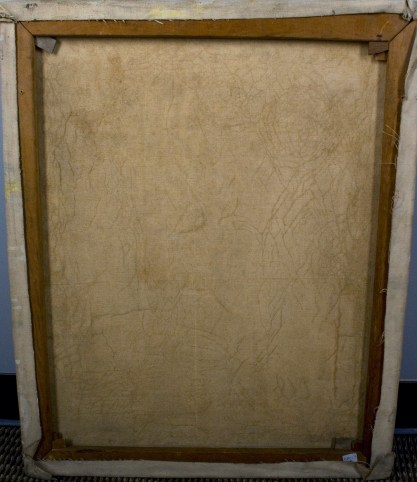 Verso view of untouched back canvas on original pine stretchers