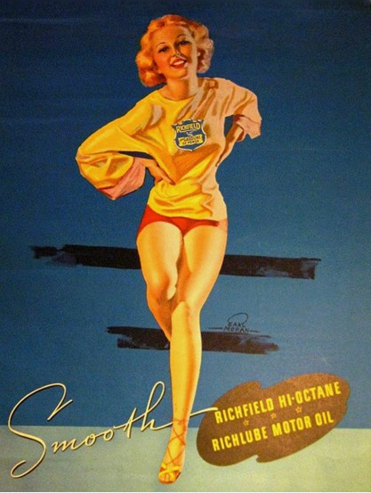 The image as it appeared as an advertisement for Richlube Motor Oil