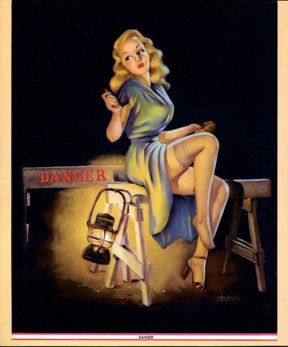 A vintage published calendar pin-up print of the painting (included in sale)