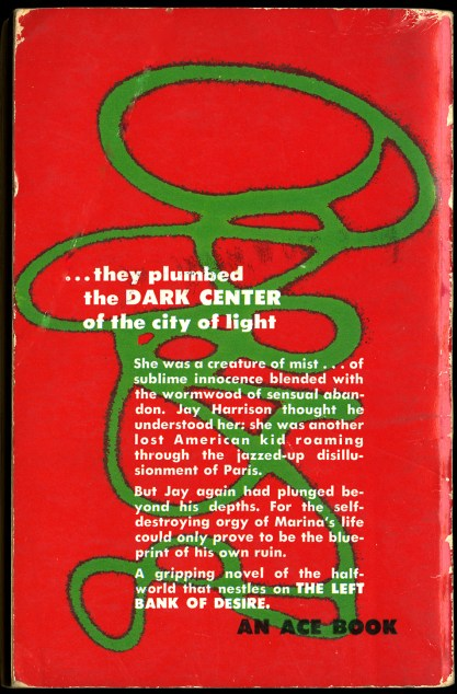 Back cover view with lurid story text slug lines