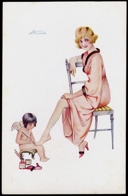 Vintage French postcard of illustration (included in sale)
