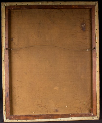 Verso view of old back canvas on original pine stretcher bars