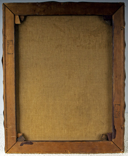 Verso view of pristine untouched back canvas and pine stretcher bars