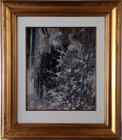 Framed and silk matted under glass in fine carved gold frame