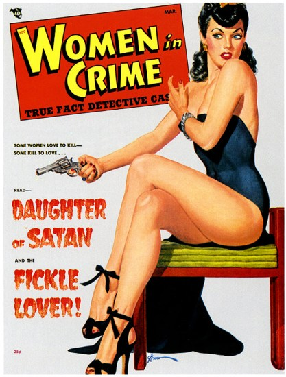 The illustration as it appeared as the cover on the March ,1948 - Women In Crime Pulp