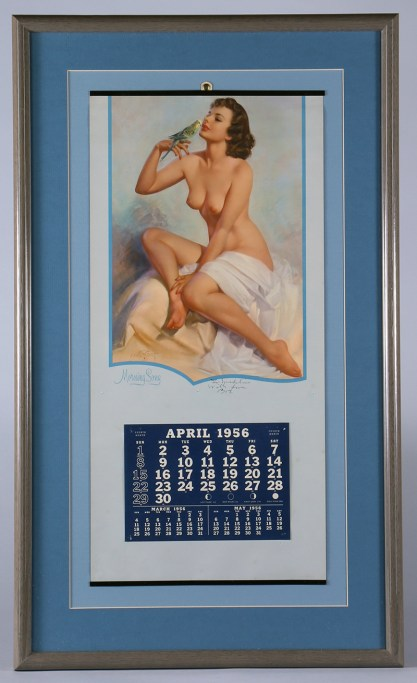 An artist signed - April, 1956 Brown & Bigelow framed calendar is included in the sale