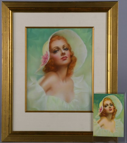 Framed and silk matted under glass with a small published vintage print of the pin-up (included in sale)