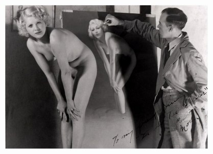 Zoe Mozert as a nude figure model for Earl Moran