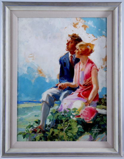 Handsomely lined and framed in fine art deco aesthetic gallery frame