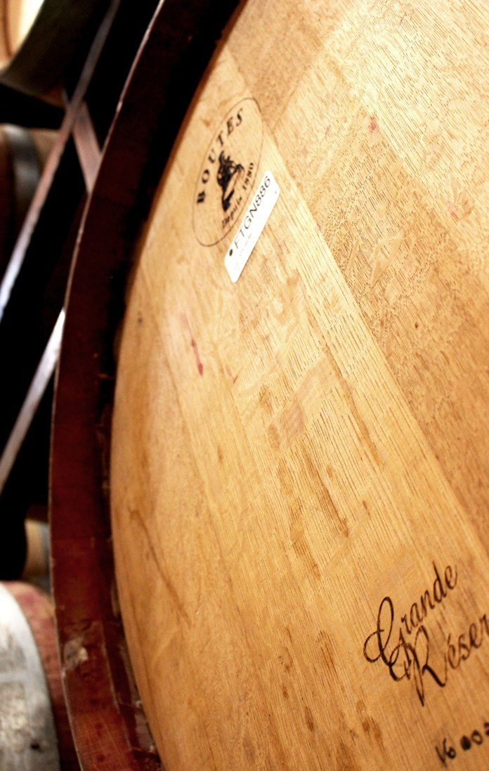 "Folktale Winery Winemaker, David Baird, is aging a special, small batch of wine in these barrels that were deposited from the top of the barrel (which you can see from the ""bleeding"" around the rim)."