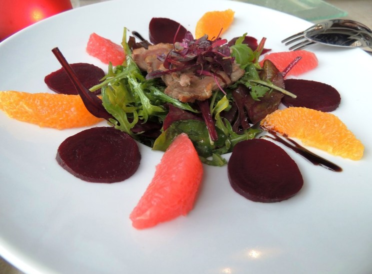 Warm beetroot and duck breast salad with orange and grapefruit (£8.20)