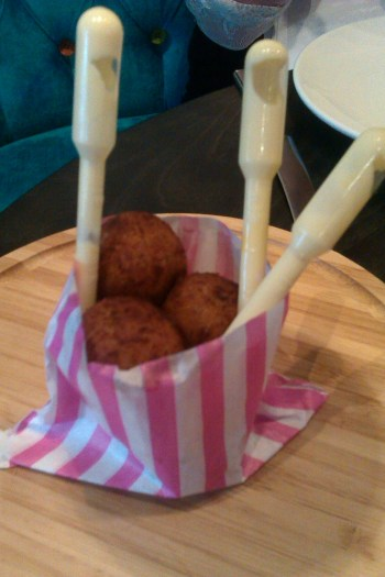 Crab croquettes with aioli in pipettes. Very Heston Blumenthal