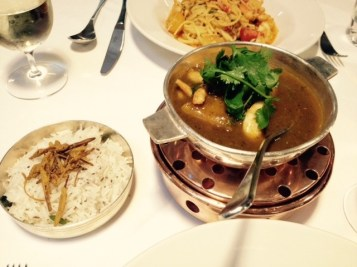 Fish curry with steamed basmati rice