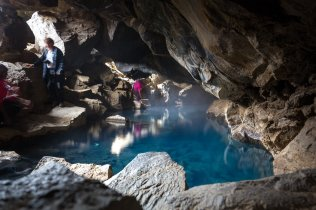 A dreamy lagoon tucked inside a cave