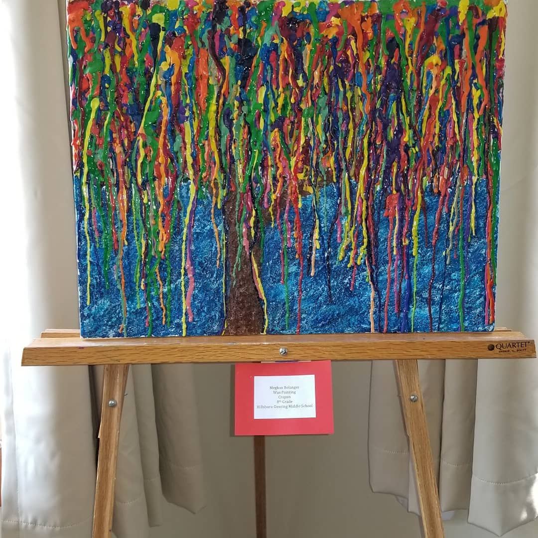 painting of dripping colors that create an abstract tree at grapevine event