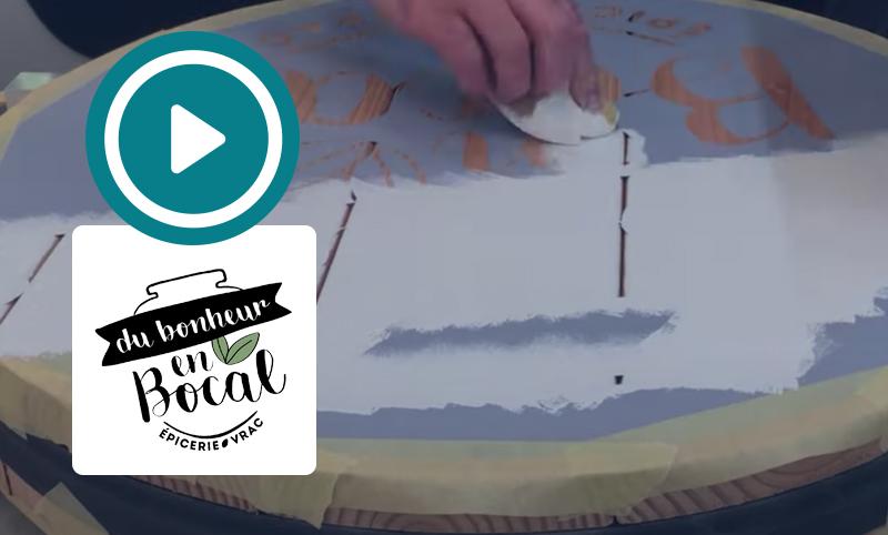 Création, fabrication et pose d'une enseigne en bois – Du Bonheur en Bocal