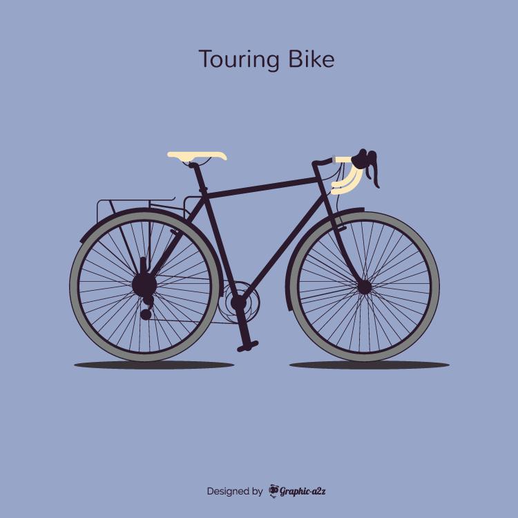 Single Tourning Bike Lineal Color Vector Design