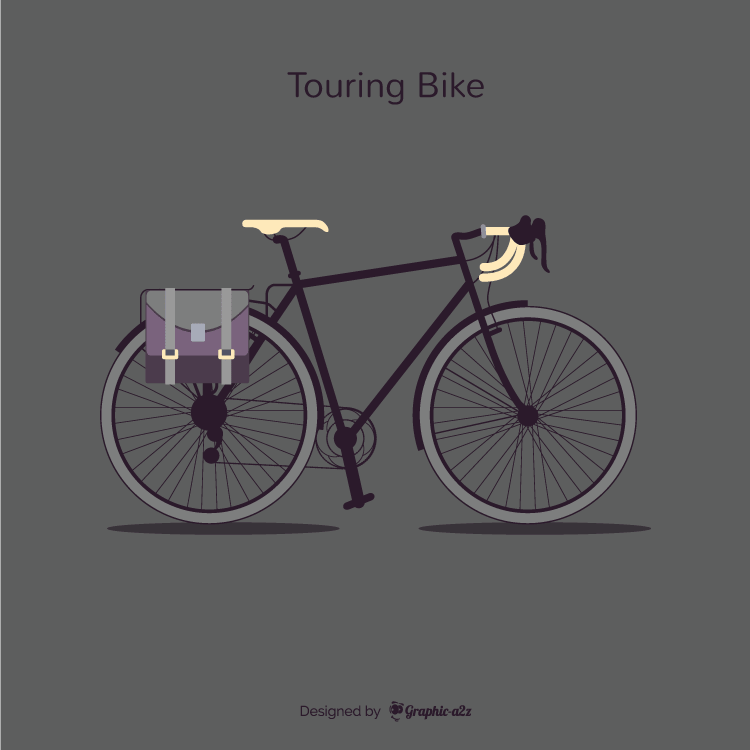 Lineal Color touring bike with side bag vector design