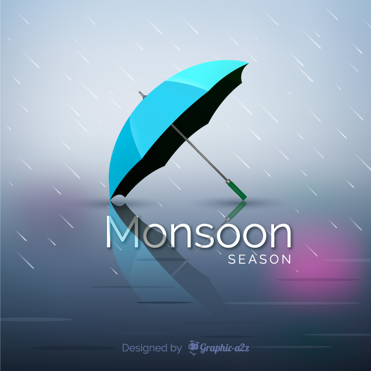 Monsoon season background with realistic umbrella