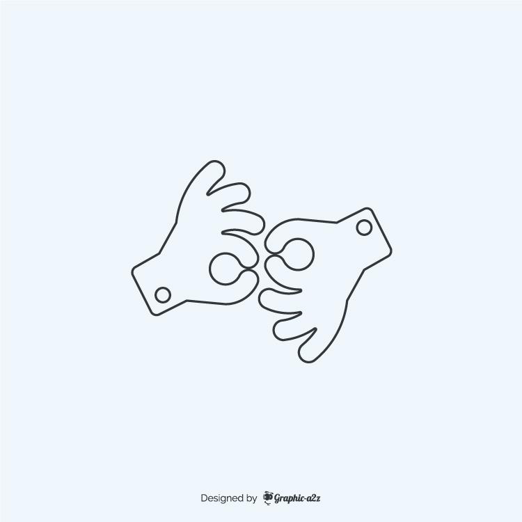 American sign language interpreting lineal icon
