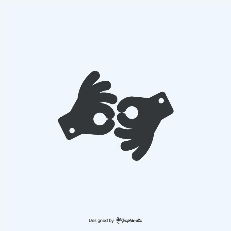 American sign language interpreting icon fill