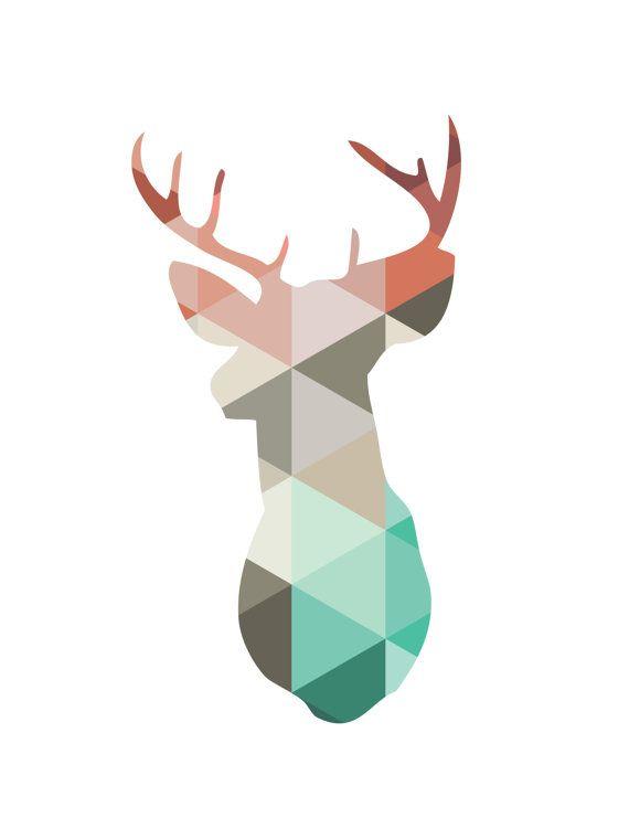 photo about Printable Antlers called Printable coral and mint deer mind antlers wall artwork