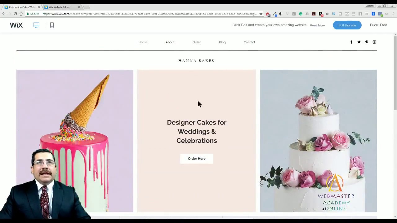 Celebration Cake Template From Wix Web Design Tutorial Graphic