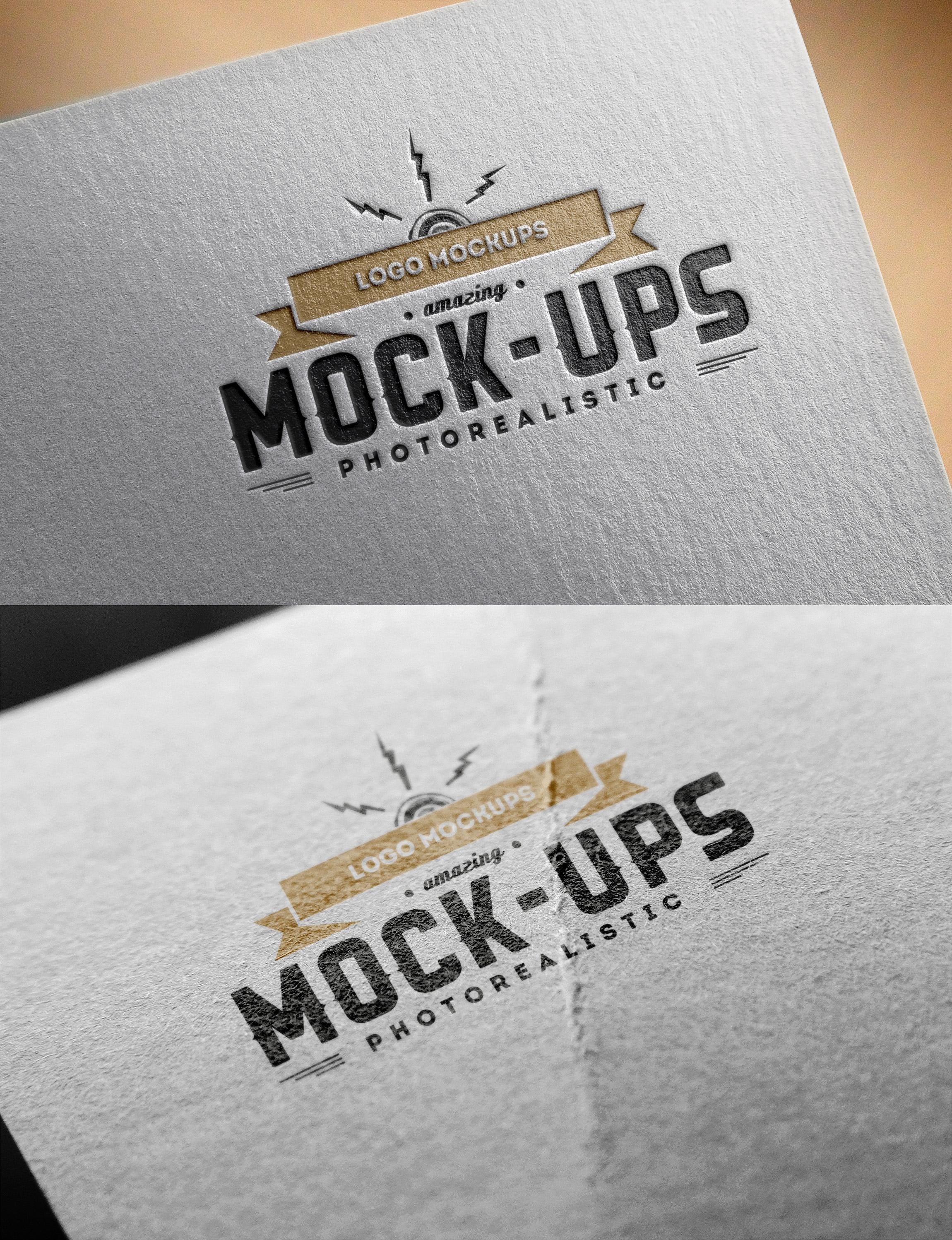 Vector de stock libre de regalias sobre. Logo Mockups Paper Edition Graphicburger