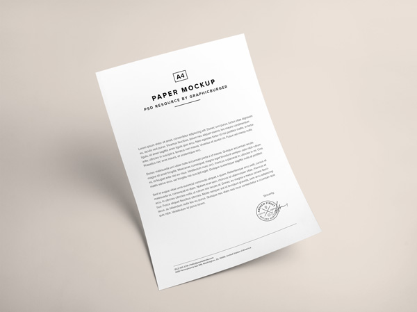 Download A4 Paper PSD MockUp | GraphicBurger